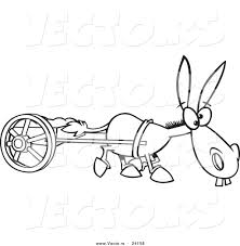 vector of a cartoon plodding donkey pulling a cart coloring page