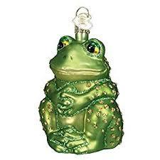 world sitting frog glass blown ornament