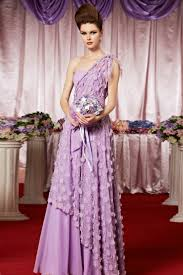 chiffon one shoulder beaded flower lavender long prom dress lace