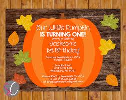 our little pumpkin turning one invite first birthday autumn