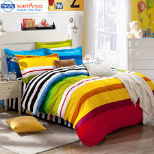 Childrens Duvet Covers Double Bed Aliexpress Com Buy Rainbow Color Stripes Boys Bedding Set For