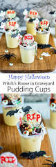 witch house in graveyard halloween pudding cups recipe