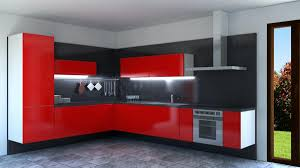 Red Lacquer Kitchen Cabinets by Red Lacquered Corner Kitchen Idfdesign