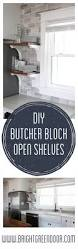 butcher block open kitchen shelving bright green door diy butcher block kitchen open shelving