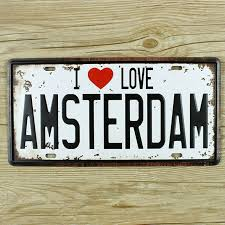 home decor wall signs license plate love amsterdam metal tin sign retro painting vintage