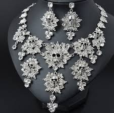 rhinestone necklace earrings images Trendy rhinestone skull necklace and earrings set jpg