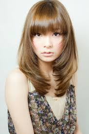 korean long hairstyles with bangs for round face japanese