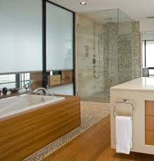 engaging amber pebble tile master bath pebble design less to