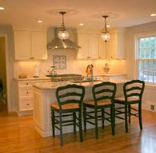 traditional kitchen island with 3 stools looks good kitchen