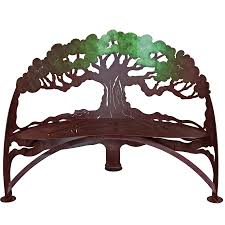tree bench functional metal garden art by cricket forge