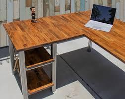 rustic l shaped desk butcher block desk etsy