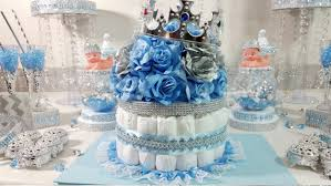 Royal Prince Decorations Diaper Cake Boys Centerpiece With Crown For Royal Prince Baby
