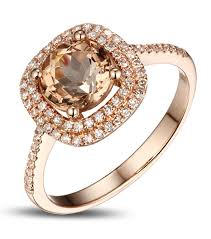 double gold rings images 2ct double halo morganite diamond rose gold engagement ring for jpg