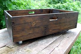under bed storage rolling crate reclaimed wood organization