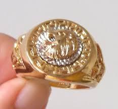 men s ring size lion s eagle men s ring size 8 11 18k gp yellow gold ring