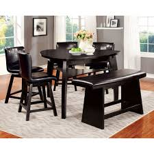 6 pc dinette kitchen dining room set table w 4 wood chair furniture of america karille modern 6 piece black counter height
