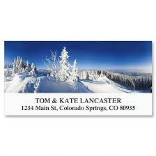 winter mountain deluxe address labels colorful images