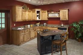 Red And Black Kitchen Cabinets by Hickory Cabinets With Black Harware Red Walls Very Similar To