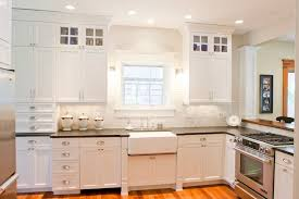 White Kitchen Cabinets With Black Granite White Shaker Kitchen Cabinets With Gray Glass Tiles Contemporary