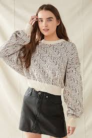 renewal recycled printed cropped sweater outfitters