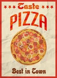 affiche cuisine retro affiche de vintage de pizza rétro sur le papier chiffonné pour le