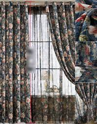 panels dark color leaf and floral pattern curtains for country style