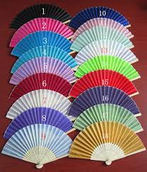 personalized folding fans 100pcs free shipping mix color silk folding fan favors