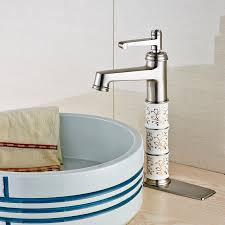 brushed nickel bathroom sink faucet dck mount cold mixer tap w