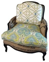 bergere chair with green and blue fabric armchairs and accent