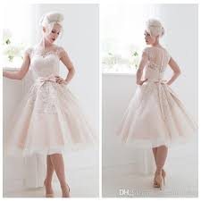 50 S Wedding Dresses Champagne Lace Applique Wedding Dress Cap Sleeves Knee Length 50s