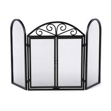 ideas u0026 tips 3 panel wrought iron fireplace screens with opening