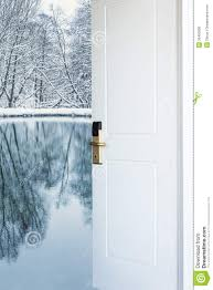 open door and a winter forest stock photo image 35403606