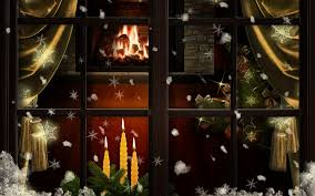 download wallpaper 3840x2400 window fireplace candles christmas