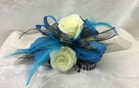turquoise corsage 2 white spray corsage with 4 row bling bracelet home