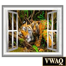 Safari Wall Murals Jungle Scene Wall Decal Tigers Wall Art Peel And Stick Mural Wall