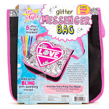 amazon com just my style glitter messenger bag by horizon group