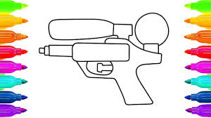 colorful water gun coloring pages and drawing for kids art