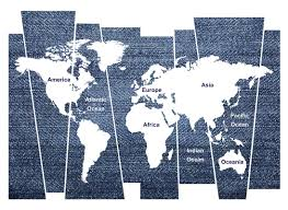 World Map Wall Sticker by Wallpops Denim World Map Wall Decal Wayfair