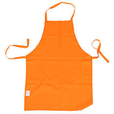plain apron with front pocket kitchen cooking craft baking orange