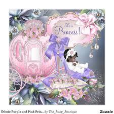 ethnic purple and pink princess baby shower invitation ethnic