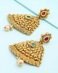 golden ear rings images Buy designer earrings resplendent golden earrings in bell shape jpg