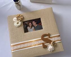 personalized wedding photo album burlap scrapbook album personalized custom by glitterglueglam