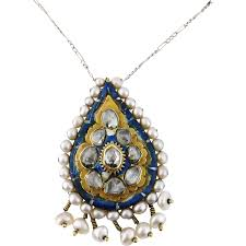 diamond pearl pendant necklace images Antique persian 18k gold qajar enamel diamond pearl pendant jpg