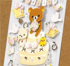 cute rilakkuma 3d stickers wedding love ring cake sticker sheets