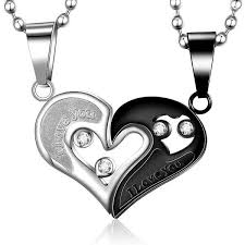 titanium black necklace images Titanium heart lover necklace blue fire store jpg