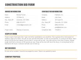 Excel Construction Bid Template Bid Quote Template Free Quotation Templates
