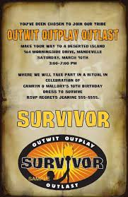 Invitation Card For Reunion Party Best 25 Survivor Party Ideas On Pinterest Survivor Games