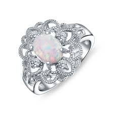 white opal oval synthetic white opal vintage style filigree flower ring silver