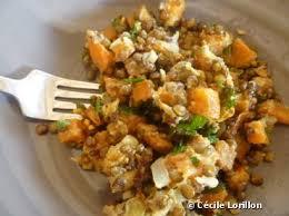 cuisiner les lentilles vertes fricassée de patate douce et lentilles vertes bioaddict