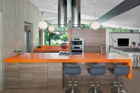 modern orange bar stools apron design ideas kitchen midcentury with gray counter stools